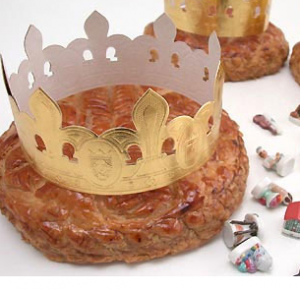 Galette des rois: puff pastry cake, with golden crown and trinket