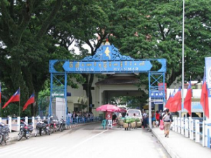 A border post between Thailand and Burma, which is called today Myanmar.
