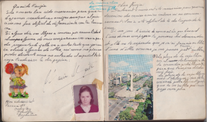 Maria Marta's entry in Spanish and French in my Cahier de Souvenir