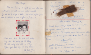 Marie Therese's entry is on the left page, and Christine's on the right, along with a generous sample of her long hair