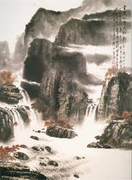 Chinese landscape painting, cliff
