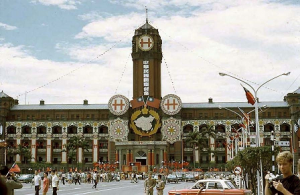 The presidential palace, bedecked with flags and the Double Tenth symbol (two crosses) on the National Day.