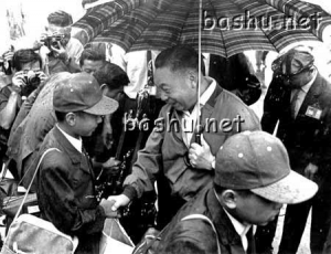 Seven Tigers, upon their return to Taiwan, shake hands with Chiang Ching Kuo, son of the President Chiang Kai Shek.
