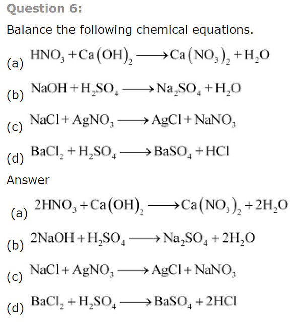 Simple Chemical Equations to Balance Worksheets images