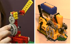 Today's lego blocks have evolved tremendously. These were designed specifically for such purposes as being levers and gears.