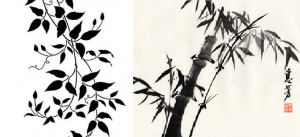 A stenciled image (left) is unable to convey ardent Qi because each element is pre-drawn. A brush painting (right) can show vital force because it is executed on the spot, with the hand and wrist moving in one direction. Perfection of stroke is secondary to movement.
