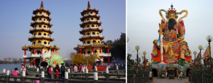 The garish monstrosities of Guan Gong, Dragon and Tiger at the colorful Twin Pagodas. Back in 1971, there was just one pagoda and it was yet only whitewashed, and had no attending sculpture of any kind or color. Much better then.