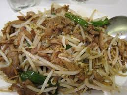 The duck meat is shredded and stir fried with various vegetables. Here, with bean sprouts.