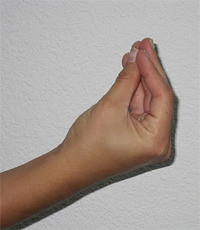 hand nodding with five fingers together